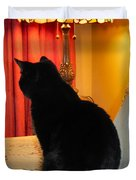Witches Cat Duvet Cover by Michelle Milano
