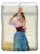 Woman and Child in a Meadow Duvet Cover by Hector Caffieri