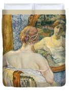 Woman In A Mirror Duvet Cover by Theo van Rysselberghe