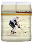 Working The Puck Duvet Cover by Karol Livote