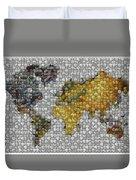 World Map Coin Mosaic Duvet Cover by Paul Van Scott