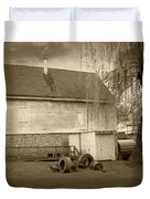 Wye Mill - Sepia Duvet Cover by Brian Wallace