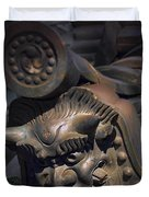 Yakushi-ji Temple Gate Gargoyle - Nara Japan Duvet Cover by Daniel Hagerman