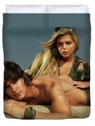 Young Beautiful Couple At The Beach Duvet Cover by Oleksiy Maksymenko