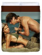 Young Couple On The Beach Duvet Cover by Oleksiy Maksymenko