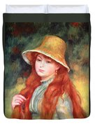 Young Girl With Long Hair Duvet Cover by Pierre Auguste Renoir