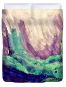Young Statue Of Liberty Falling From Grace Female Figure Portrait Painting In Green Purple Blue Duvet Cover by MendyZ M Zimmerman