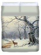 A Stag In A Wooded Landscape  Duvet Cover by Nils Hans Christiansen