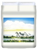 Indian Ponies Duvet Cover by Jerome Stumphauzer
