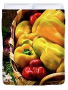 Italian Peppers Duvet Cover by Harry Spitz