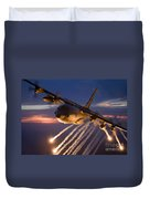 A C-130 Hercules Releases Flares Duvet Cover by HIGH-G Productions