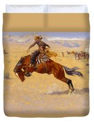 A Cold Morning On The Range Duvet Cover by Frederic Remington