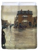 A Rainy Day in Boston Duvet Cover by Childe Hassam