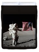 Apollo 17 Astronaut Salutes The United Duvet Cover by Stocktrek Images