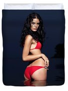 Beautiful Young Woman In Red Swimsuit Standing In Water Duvet Cover by Oleksiy Maksymenko