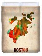 Boston Watercolor Map  Duvet Cover by Naxart Studio