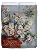 Chrysanthemums Duvet Cover by Claude Monet