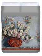 Chrysanthemums Duvet Cover by Claude Monet