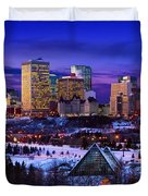 Edmonton Winter Skyline Duvet Cover by Corey Hochachka