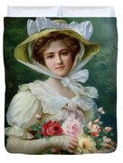 Elegant Lady With A Bouquet Of Roses Duvet Cover by Emile Vernon