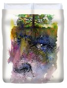 Face With Tree Duvet Cover by John D Benson