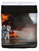 Firefighting Marines Battle A Huge Duvet Cover by Stocktrek Images
