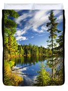 Forest And Sky Reflecting In Lake Duvet Cover by Elena Elisseeva