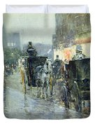 Horse Drawn Cabs at Evening in New York Duvet Cover by Childe Hassam