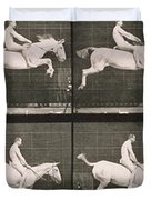Man and horse jumping a fence Duvet Cover by Eadweard Muybridge