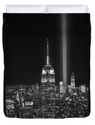 New York City Tribute In Lights Empire State Building Manhattan At Night Nyc Duvet Cover by Jon Holiday
