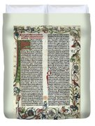 Page Of The Gutenberg Bible, 1455 Duvet Cover by Photo Researchers