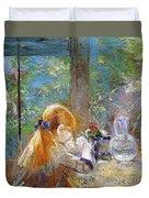 Red-haired Girl Sitting On A Veranda Duvet Cover by Berthe Morisot