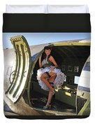 Sexy 1940s Style Pin-up Girl Standing Duvet Cover by Christian Kieffer