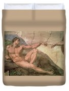 The Creation Of Adam Duvet Cover by Michelangelo Buonarroti