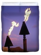 Waikiki, Tiki Torches Duvet Cover by Carl Shaneff - Printscapes