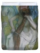 Woman Combing Her Hair Duvet Cover by Edgar Degas