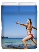 Woman doing yoga Duvet Cover by Kicka Witte - Printscapes