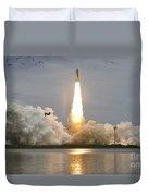 Space Shuttle Atlantis Lifts Duvet Cover by Stocktrek Images