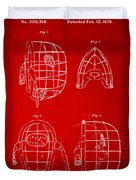 1878 Baseball Catchers Mask Patent - Red Duvet Cover by Nikki Marie Smith