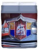 1949 Plymouth P-18 Special Deluxe Convertible Emblem Duvet Cover by Jill Reger