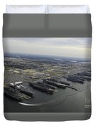 Aircraft Carriers In Port At Naval Duvet Cover by Stocktrek Images