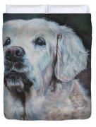 Golden Retriever Portrait Duvet Cover by Lee Ann Shepard