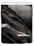 Nude Woman Lying On Rocks By The Water Duvet Cover by Oleksiy Maksymenko