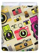 Retro Camera Pattern Duvet Cover by Setsiri Silapasuwanchai