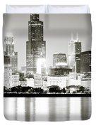 Chicago Skyline at Night Duvet Cover by Paul Velgos
