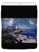 Portland Head Lighthouse Duvet Cover by Skip Willits