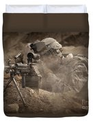 U.s. Army Ranger In Afghanistan Combat Duvet Cover by Tom Weber