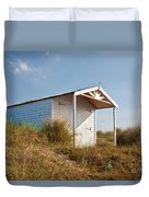 A Beach Hut In The Marram Grass At Old Hunstanton North Norfolk Duvet Cover by John Edwards