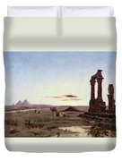 A Bedouin Encampment By A Ruined Temple  Duvet Cover by Alexandre Gabriel Decamps