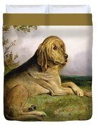 A Bloodhound In A Landscape Duvet Cover by English school